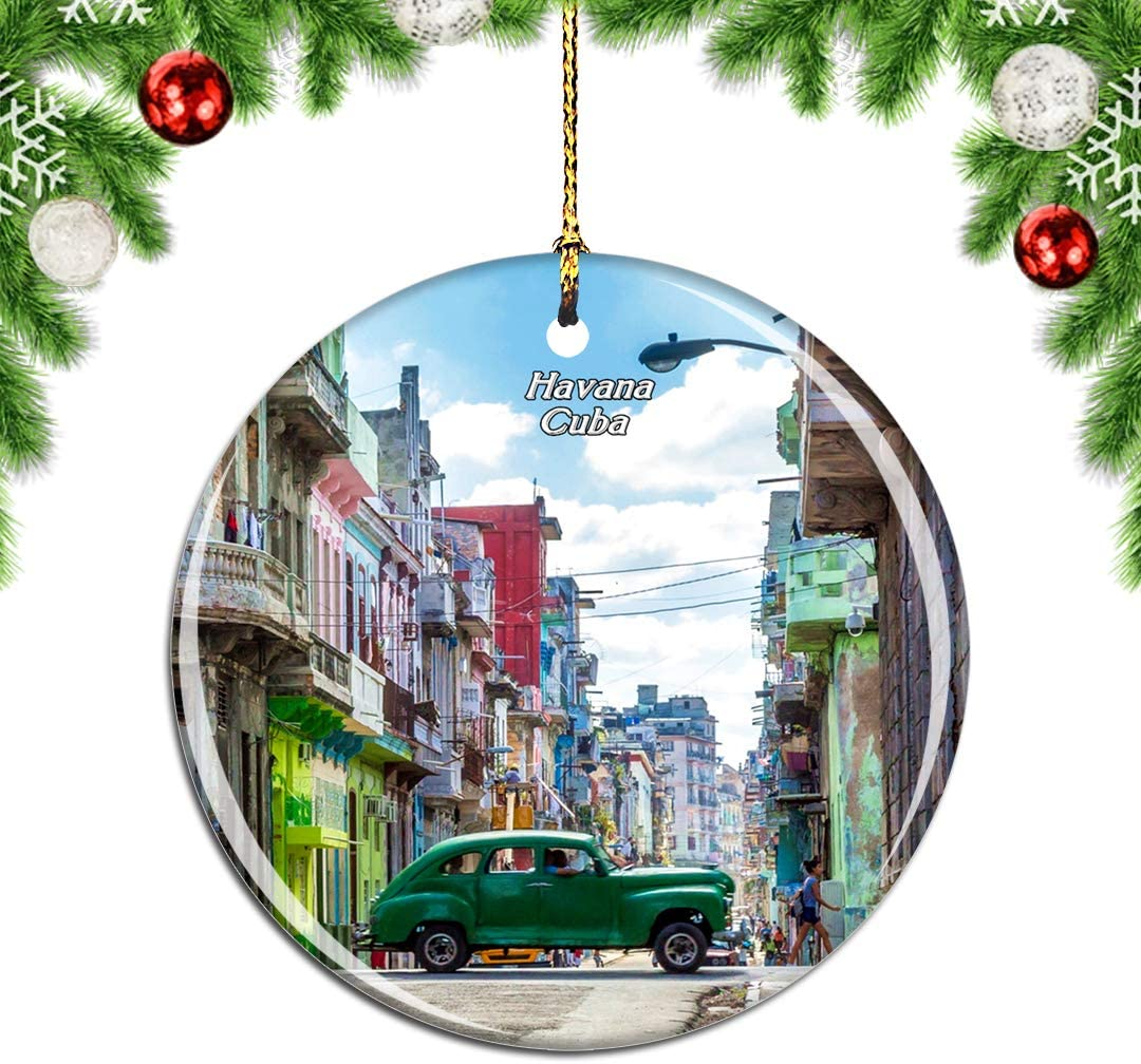 Weekino Old Town Cuba Christmas Xmas Tree Ornament Decoration Hanging Pendant Decor City Travel Souvenir Collection Double Sided Porcelain 2.85 Inch