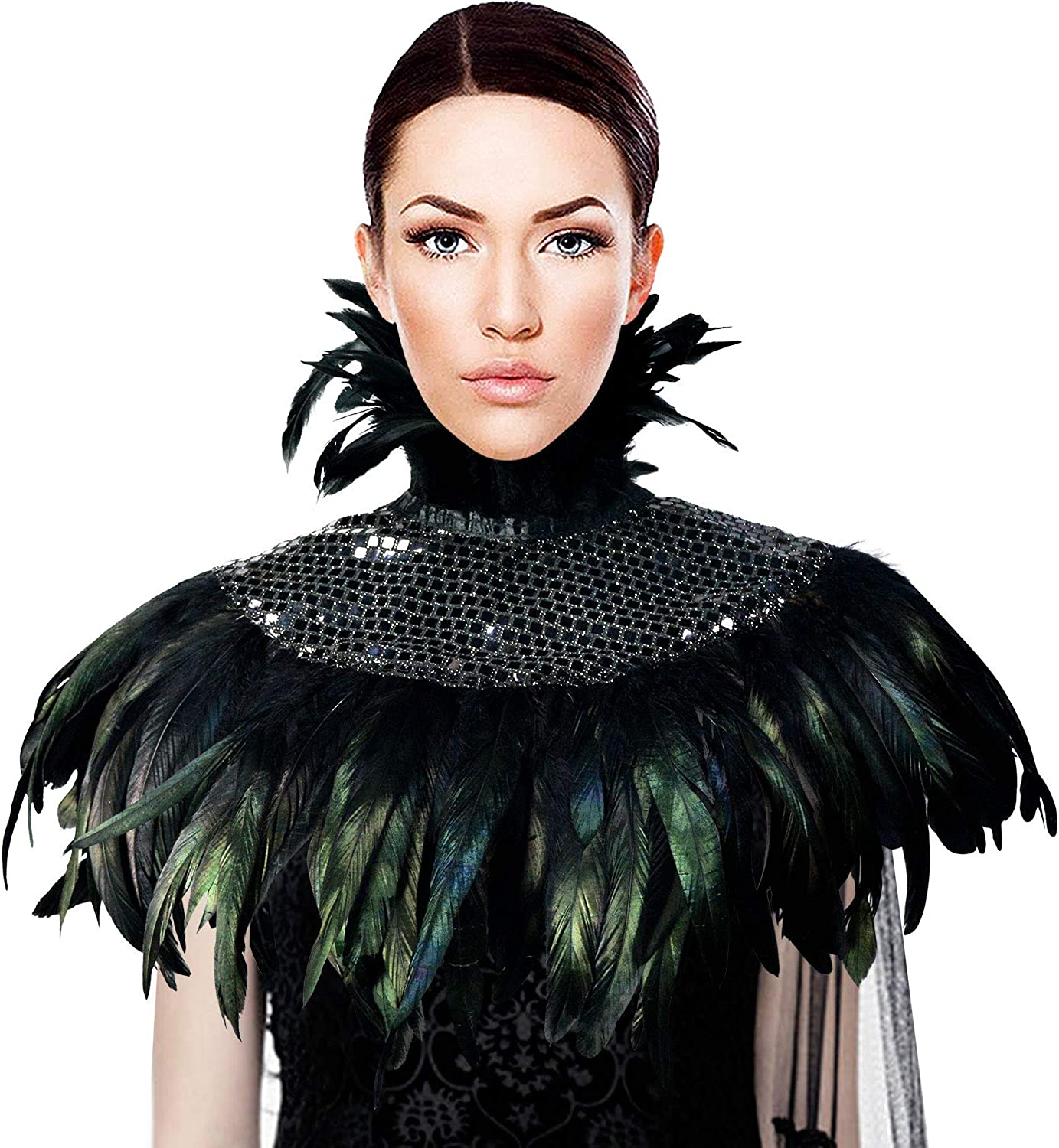 HOMELEX Gothic Victorian Black Natural Feather Lace Cape Shawl Shoulderpad