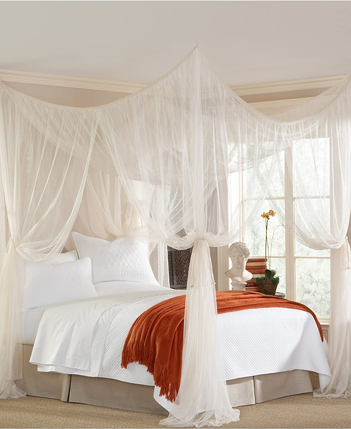 Mombasa Majesty Classic Bed Netting/Canopy, White (76-in W x 84-in L x  96-in H)