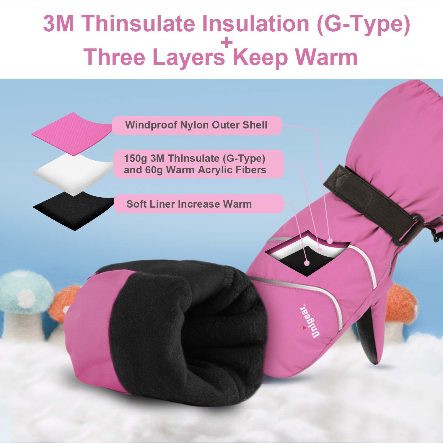 Unigear Kids Ski Mittens Waterproof Winter Snow Thinsulate Mittens with String for Boys Girls Pink, 4-6Y