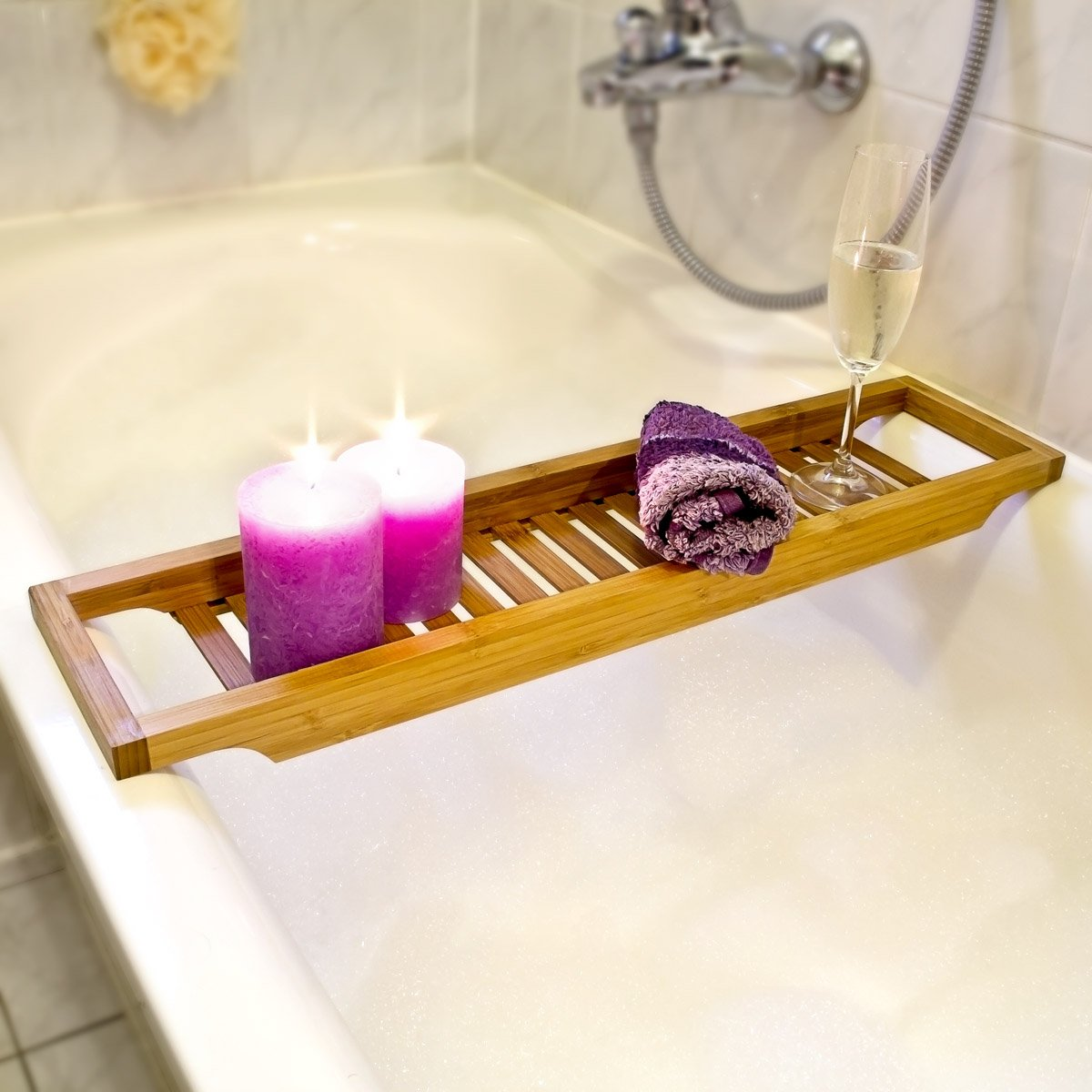 Relaxdays Bamboo Bathtub Caddy, Wooden Bathroom Rack, 4 x 64 x 15 cm ...