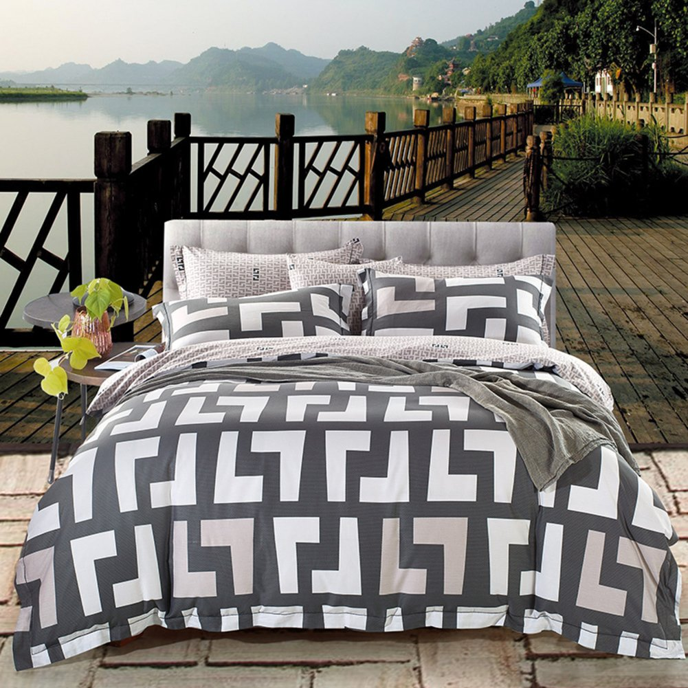 Luxury hotel quality duvet cover set with 2 pillow shams navy and white stripe lattice bedding collection bed sheet -I Queen1