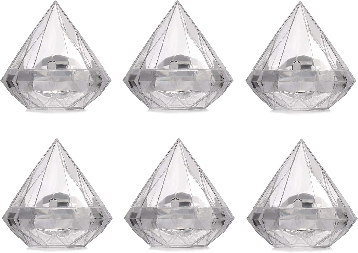 6 Pack Clear Diamond Shape Ornaments - Clear Plastic Fillable Ornaments - Christmas Fillable Ornaments, Bath Bomb Ornaments, Hollow Ornaments for Wedding Party Decoration, Craft Art, Holiday (7CM)
