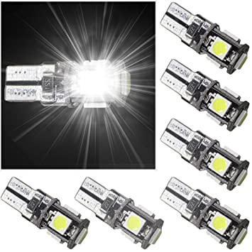 muchkey Indicador (T10, W2.1x 9.5d, W5W No Error LED Interior Luz Bombillas,blanco 6pcs: Amazon.es: Coche y moto