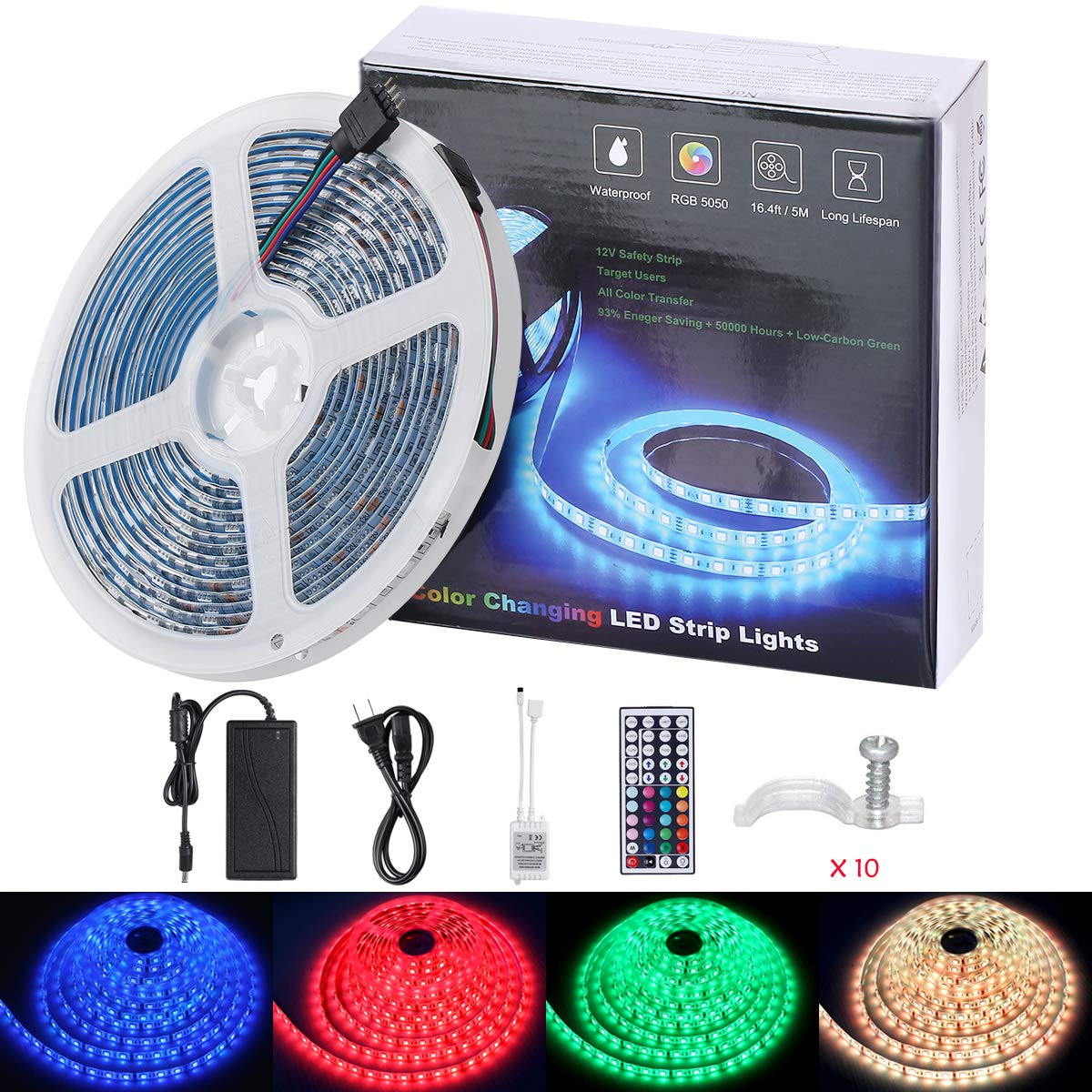 HengBO LED Strip Light, 16.4ft 5m Waterproof 300leds RGB 5050 Color Changing Rope Light with 44 Key Remote Control and Power Supply Bedroom Flexible Tape Lights for Home Decoration