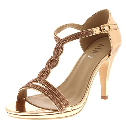 Viva Womens Diamante T-Bar Mid Heel Wedding Party Metallic Sandals Shoes