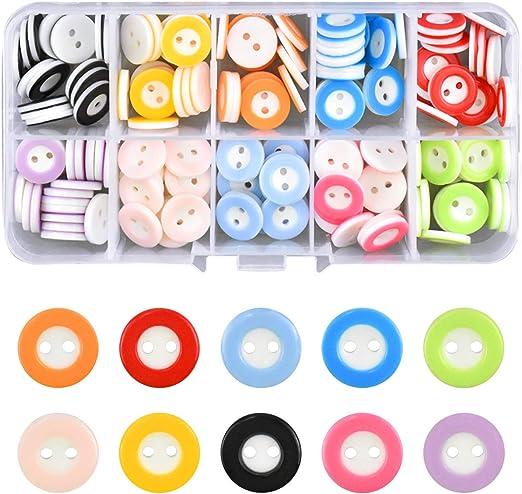 150 Piezas Botón de Resina Botones Redondos Costura de Colores Mezclados Botones de Resina con Caja de Plástico para manualidades de Infantil Costura DIY Coser Artesanía 10 color: Amazon.es: Hogar