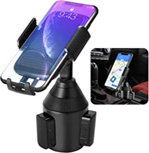 [Upgraded] Car Cup Holder Phone Mount, Adjustable Cup Phone Holder for Cell Phone iPhone 12 Pro/11/XS Max/XR/X/8,Samsung Galaxy S20/S10/S9,Note 10/S8/S7,LG,Sony and More Devices- Car Phone Mount