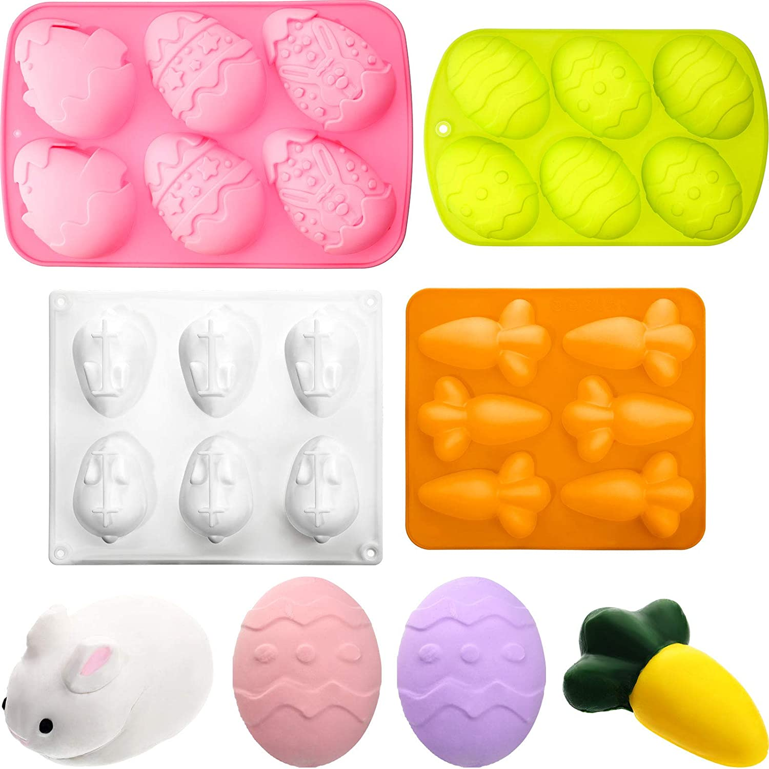 4 Pieces Easter Egg Chocolate Candy Molds Rabbit Bunny Shaped Silicone Mold Carrot Silicone Mold Easter Baking Cake Mold for DIY Cake Chocolate Jelly Desserts Ice Soap