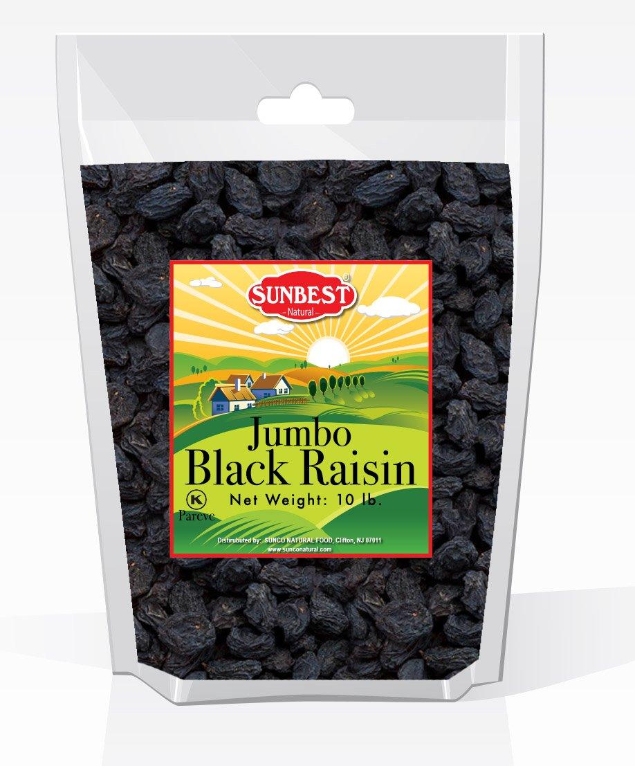SUNBEST Seedless Black Jumbo Raisins in Resealable Bag ... (10 Lb) by SUNBEST NATURAL