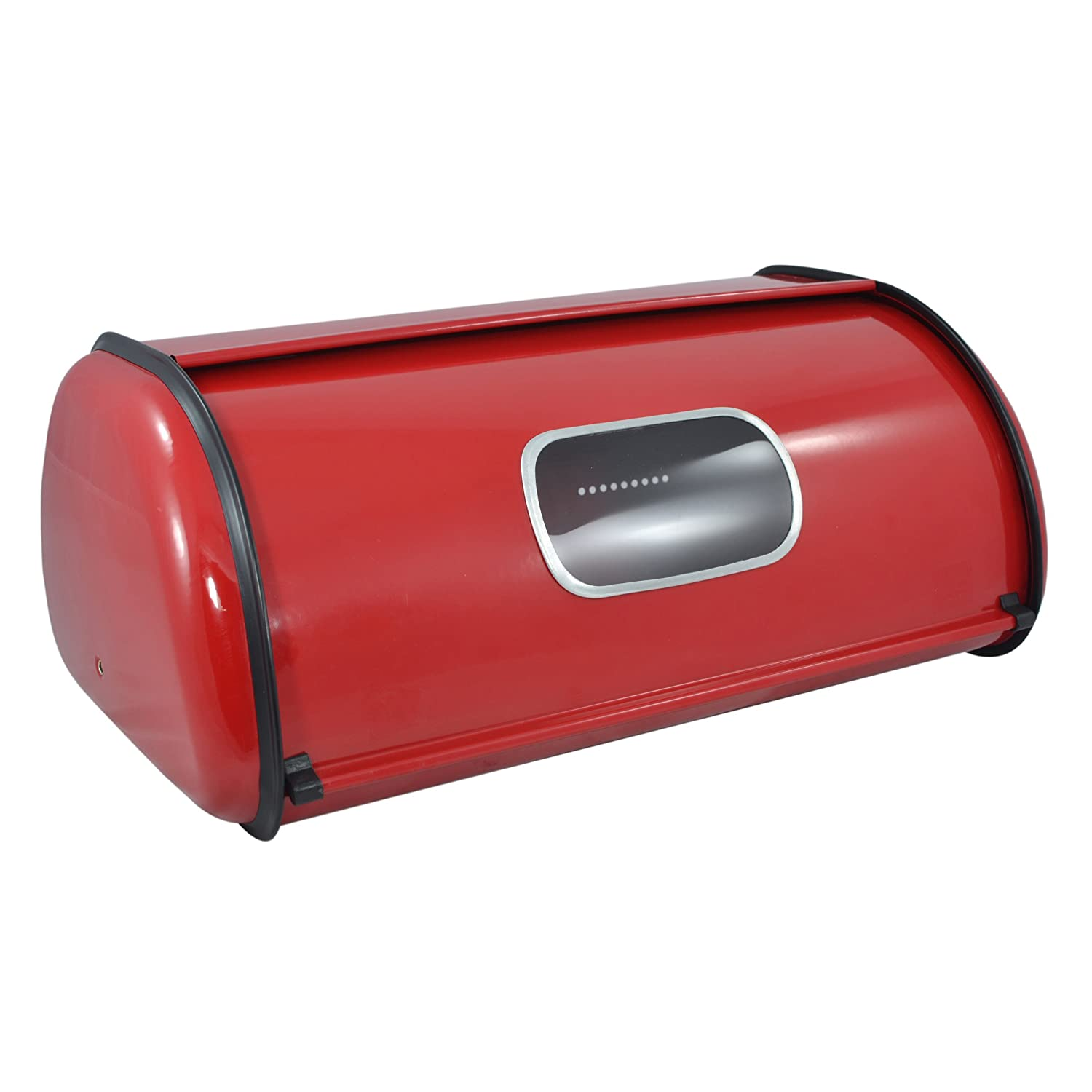 Modern Red Metal Clear Front Window Rolltop 2 Loaf Bread Box/Storage Bin - MyGift TB-KIT0008RED