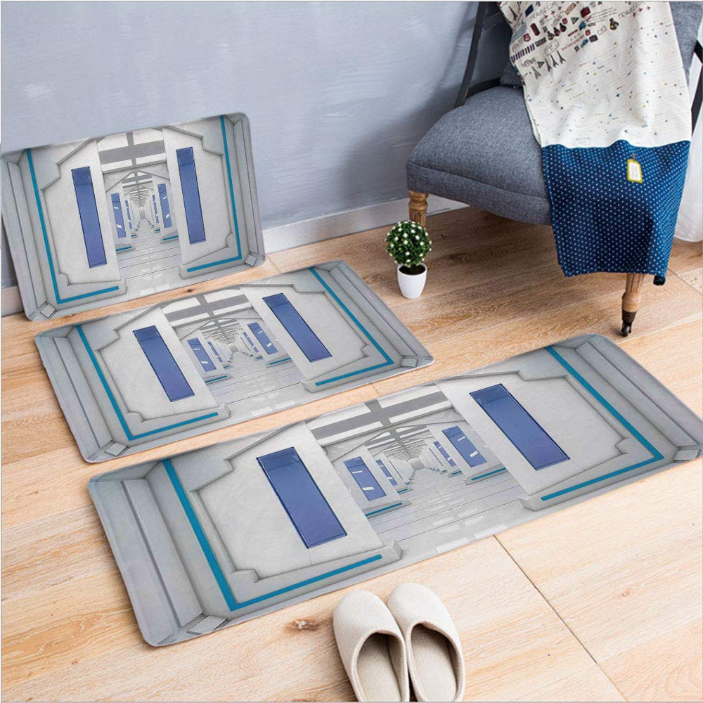 "3 Piece Non-Slip Doormat 3d print for Door mat living room kitchen absorbent kitchen mat,Mission Vehicle Solar System Journey to Universe,15.7""x23.6""by19.7""x31.5""by17.7""x45.3"",coffee table carpet wind"