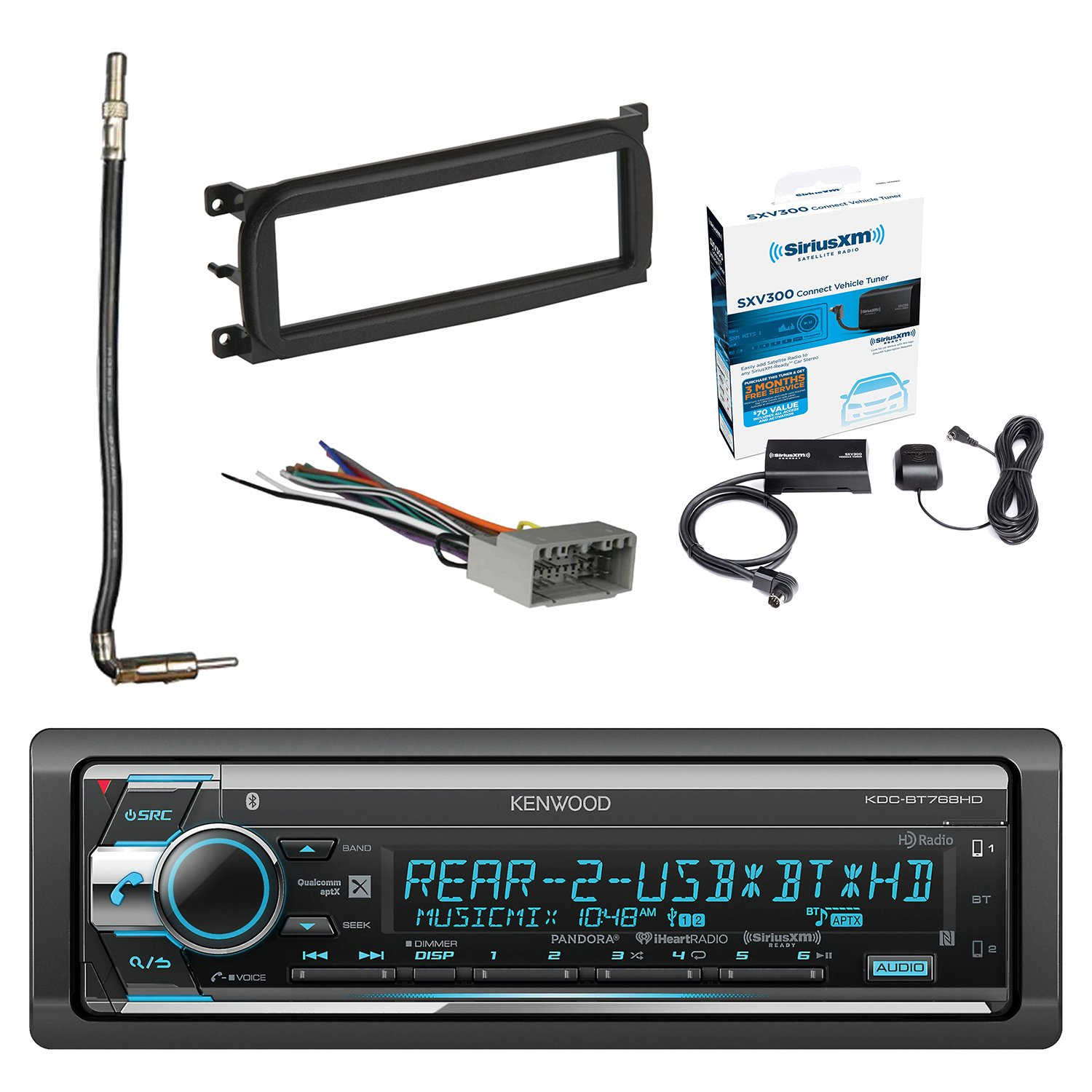 Kenwood Single Din CD/AM/FM Car Audio Receiver W/Bluetooth with SiriusXM Satellite Radio Connect Vehicle Tuner Kit, Metra Dash Kit For Chry/Dodge/Jeep, Radio Wiring Harness & Antenna Adapter Cable