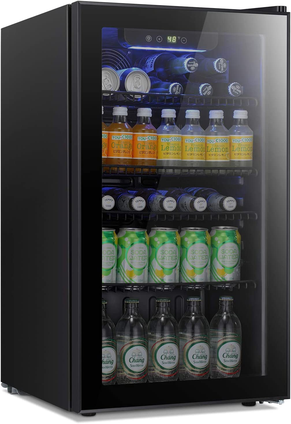 Antarctic Star Beverage Refrigerator Cooler - 120 Can Mini Fridge Glass Door for Soda Beer or Wine Small Drink Dispenser Clear Front for Home, Office or Bar,3.2cu.ft.