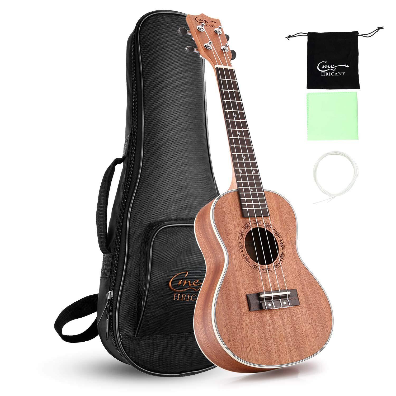 Hricane Concert Ukulele 23 inch UKS-2, 4 Strings Ukeleles For Beginners, Sapele Hawaiian Ukele with Ukulele Case and Ukele String Set by Hricane