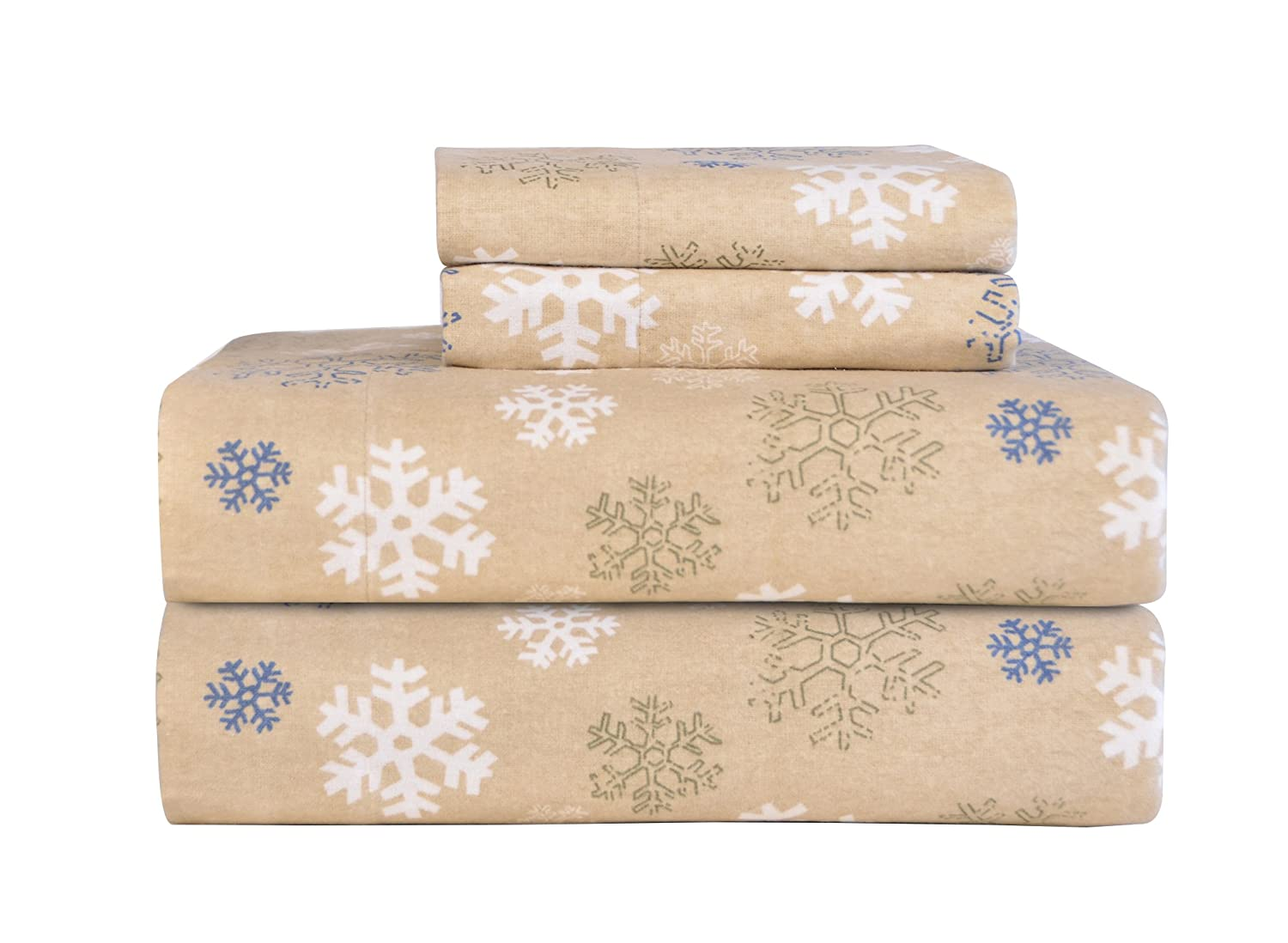 amazoncom pointehaven heavy weight printed flannel sheet set queen snow flakes oatmeal home u0026 kitchen - Flannel Sheets Queen