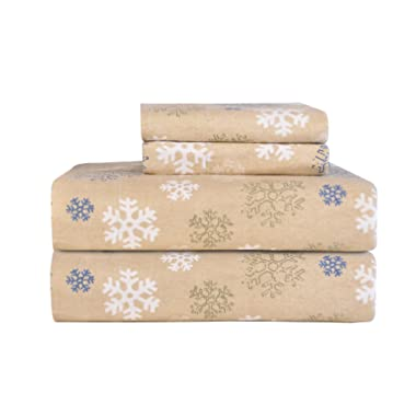 Pointehaven Heavy Weight Printed Flannel Sheet Set, Full, Snow Flakes Oatmeal