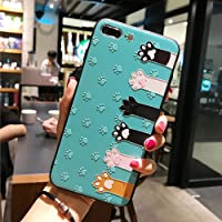 BONTOUJOUR iPhone 7 Plus case iPhone 8 Plus Cover Case Super Cute Cartoon Animal Pattern Soft TPU Bumper Hard PC Back Cover for Girls 360 Degree Protection (Green cat Hand, iPhone 7plus /8plus)