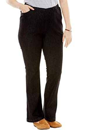 de4115452d6 Woman Within Women s Plus Size Petite Bootcut Fineline Jean at Amazon  Women s Clothing store