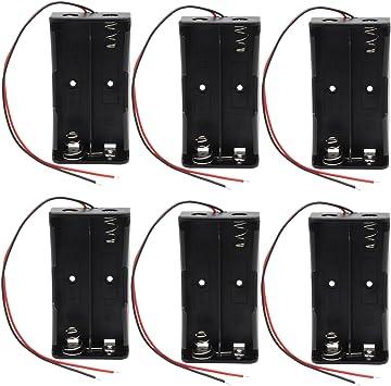 KEESIN 3.7V 18650 Caja de Soporte de Batería Caja de Almacenamiento de Batería de Plástico con Cables y Abrazaderas de Cables Autoadhesivas (2 Solts × 6 piezas): Amazon.es: Electrónica