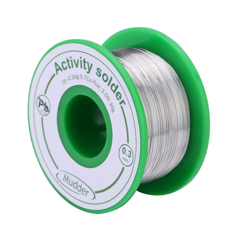 0,3 mm Fil de Soudure Sans Plomb Sn99 Ag0.3 Cu0.7 avec Noyau de Colophane pour le Soudure Électrique 30 g