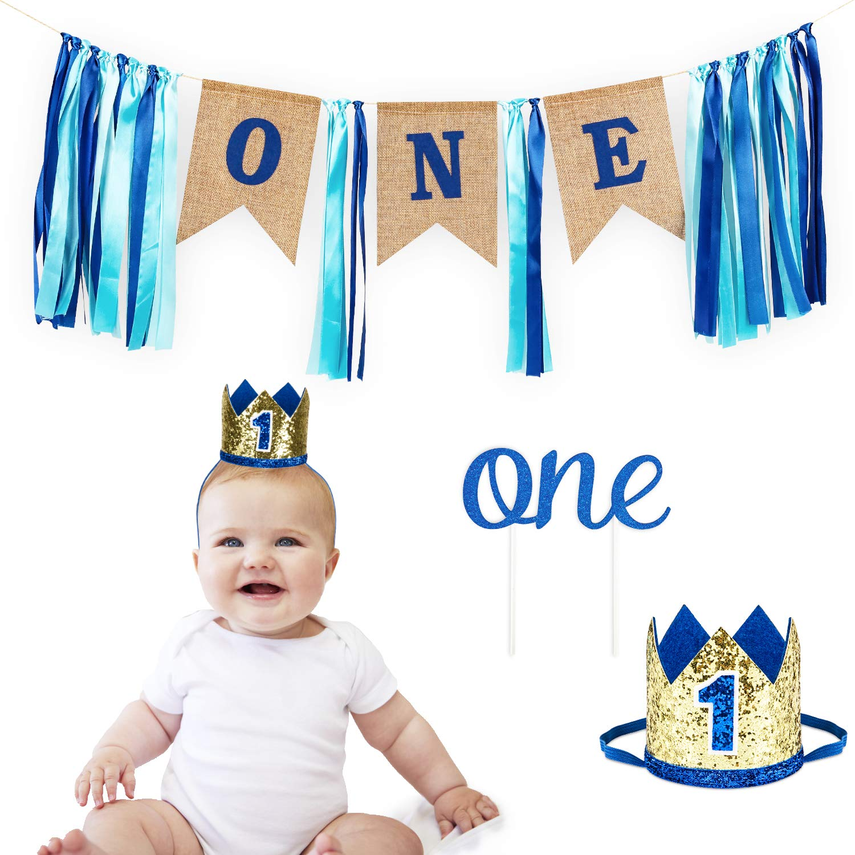 Grey Highchair banner Cake Smash Photo Prop Little Blue truck Highchair Banner 1st Birthday Boy Blue Grey Royal Light Blue Royal Blue