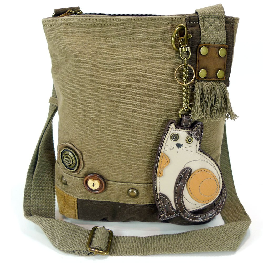 Chala LaZzy Cat Patch Canvas Cotton Messenger Bags with 6 Color Options (Olive)
