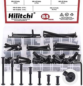Hilitchi 84Pcs M6 Hex Drive Socket Cap Bolts Kit Countersunk Head Screws Bolts Dowel Barrel Nuts Crib Bolts Nuts Assortment Kit for Furniture Hardware Fitting (16/25/35/45/55/65/75mm)