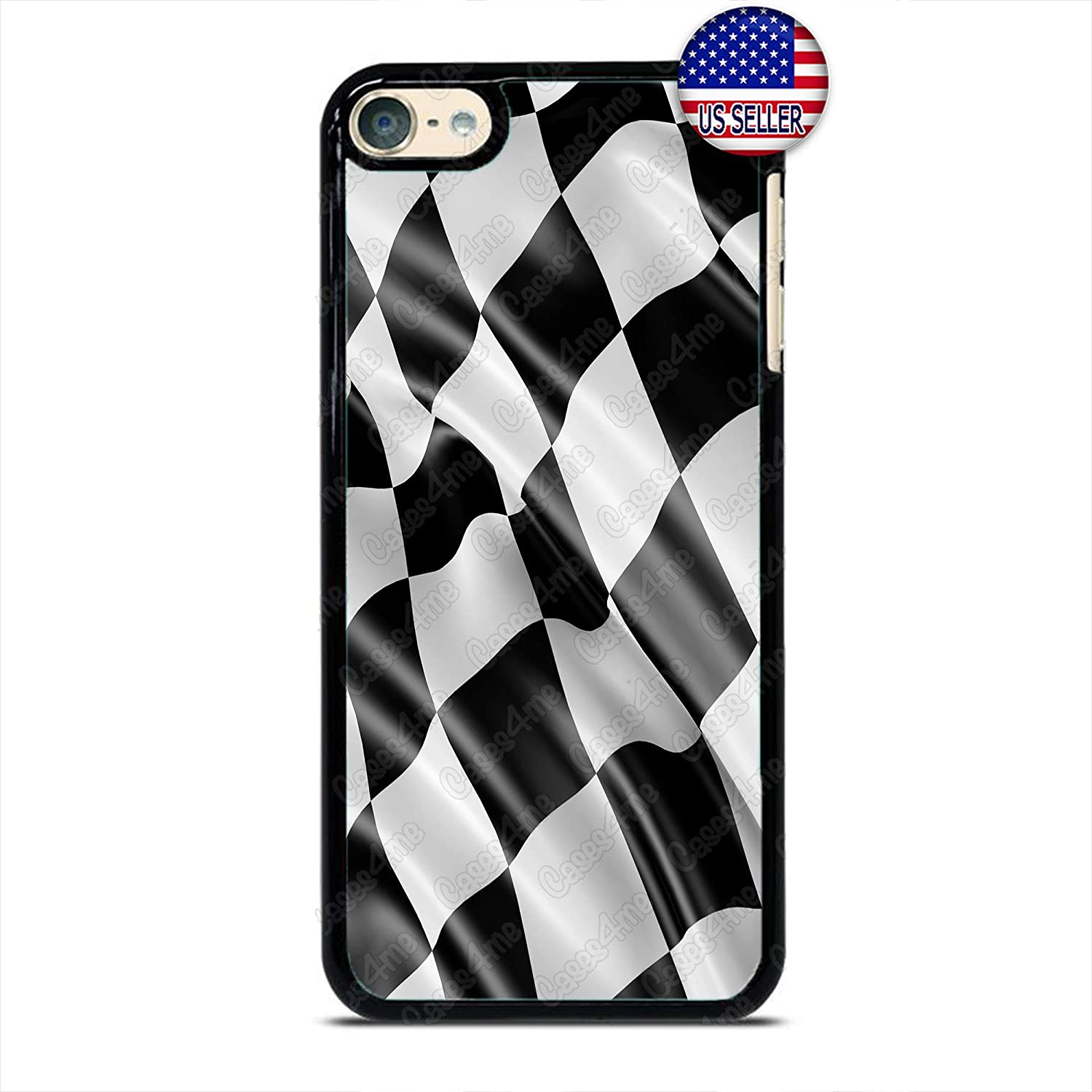 Checkerd Phone Case Formula Race Car Flag Slim Shockproof PC Custom Case Cover for iPod Touch 7 6 5 4