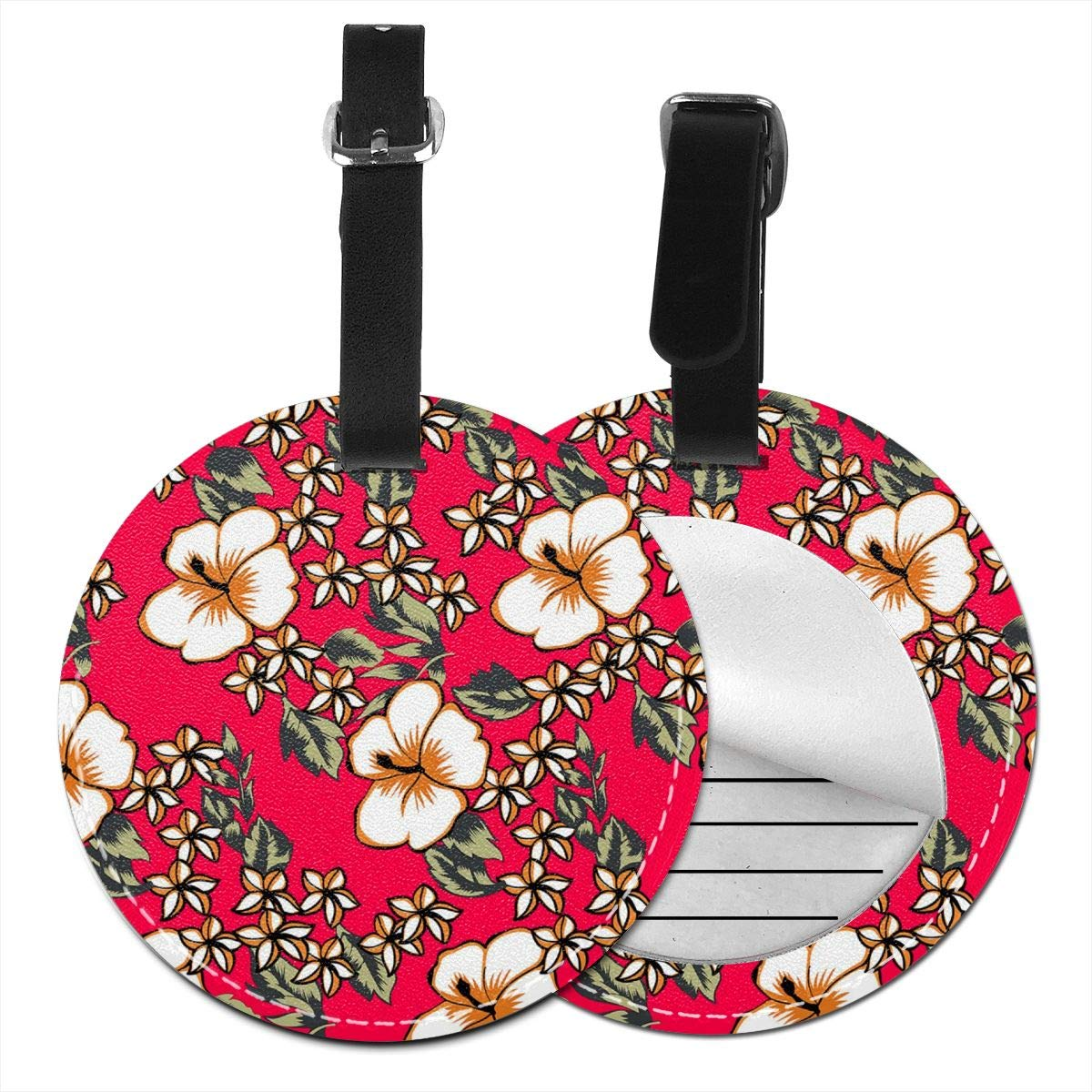 RITGOWWV PU Leather Luggage Tags 3D Print Red Pink Flower Suitcase Labels Bag Travel Accessories