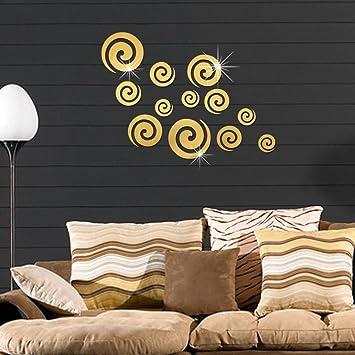 Amazoncom Decorative Mirror Wall Sticker Lotusflower 3d