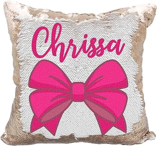Amazon Com Personalized Pretty Bow Reversible Sequin Pillow