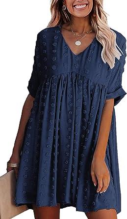 ECOWISH Women Summer Dress V-Neck Polka Dot Short Sleeve Casual Loose Flowy Swing Tunic Dresses