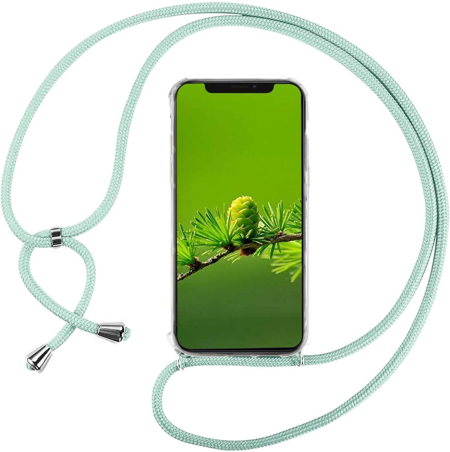 Funda con Cuerda para Xiaomi Mi MAX 3, Carcasa Transparente TPU Suave Silicona Correa Colgante Ajustable Collar Correa de Cuello Cadena Cordón - Verde
