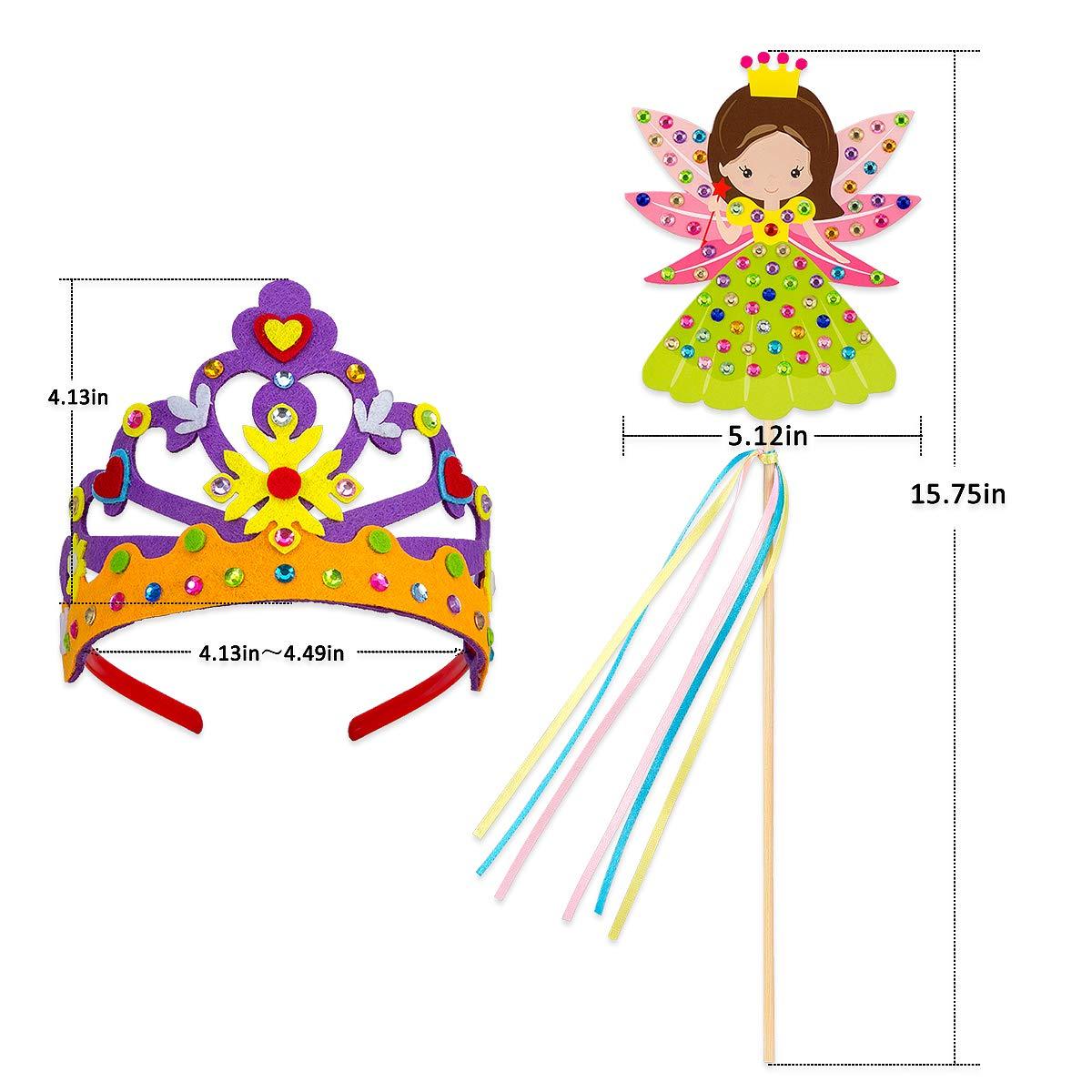 Make Your Own Princess Crown and Fairy Magic Wands Girls Party Favors PARBEE 8 Set Princess Tiara and Wand DIY Crafts