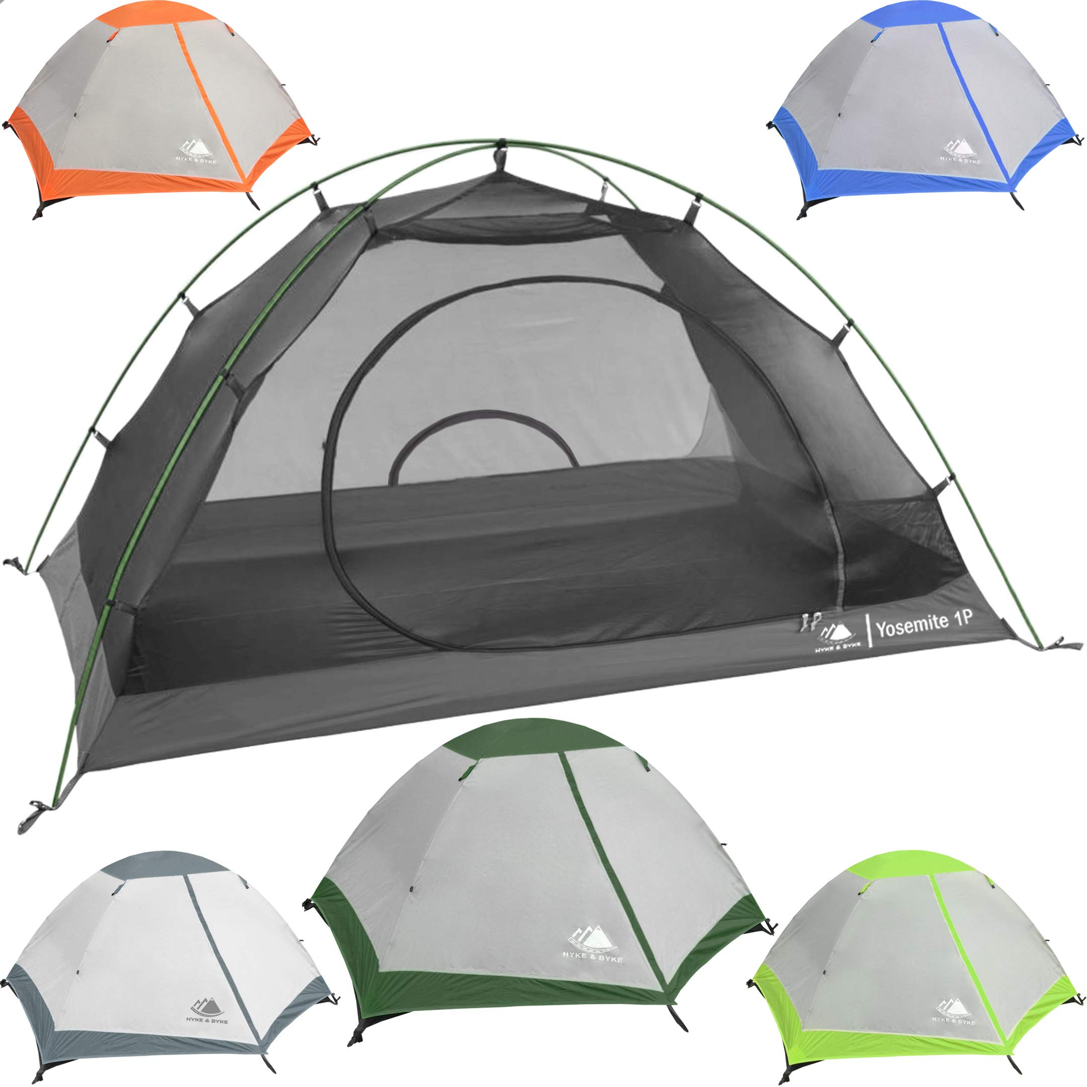 Hyke & Byke 1 Person Backpacking Tent with Footprint - Lightweight Yosemite One Man 3 Season Ultralight, Waterproof, Ultra Compact 1p Freestanding Backpack Tents for Camping and Hiking (Forest Green) by Hyke & Byke