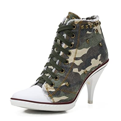 4f76e789a17b4 Women's Rivet Lace up High Heel Canvas Sneakers Ankle Bootie Camo Stiletto  EU34