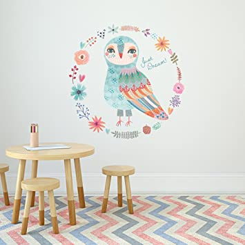 Int!rend Wandtattoo Kinderzimmer OWLDREAM | Eule   Verspielt U0026 Trendy |  60cm Durchmesser Bunt