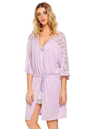 Adome Women Short Sleeve Dressing Gown Ladies Lace Lightweight Night Robe  Sleepwear (Purple d04efd97b