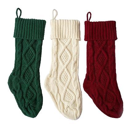 3 paquetes, 18 pulgadas calcetines de punto muy grandes Decoración de Navidad blanco / rojo
