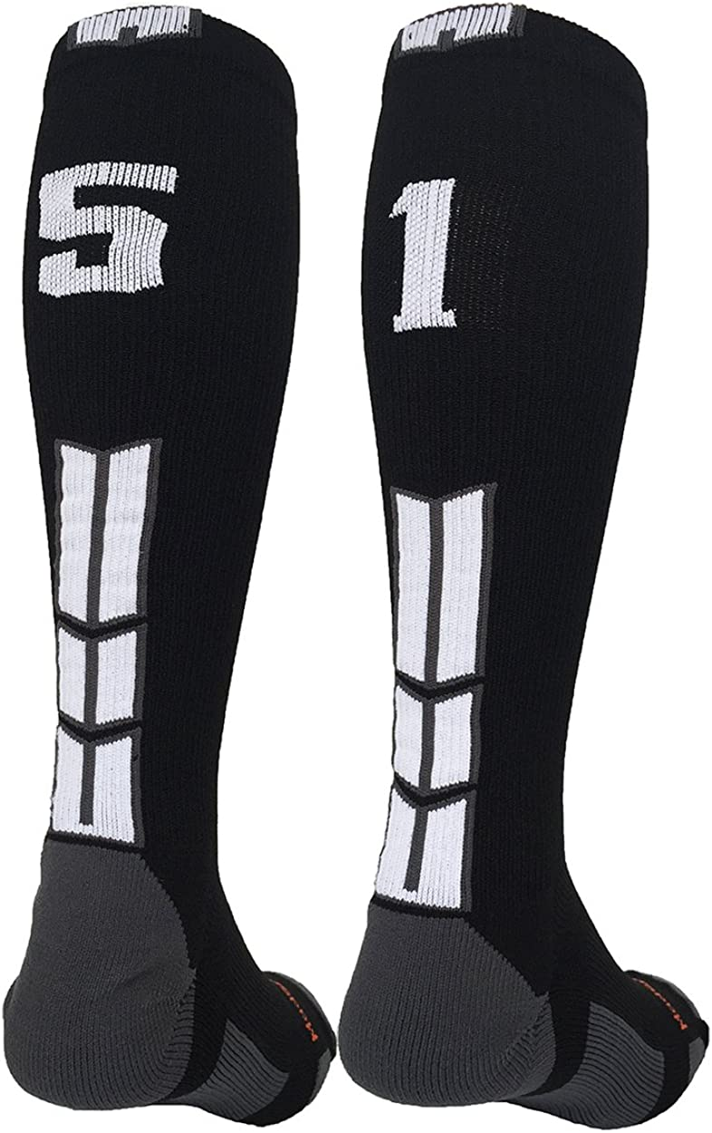 MadSportsStuff Player Id Black//White Over The Calf Number Socks #51, Medium