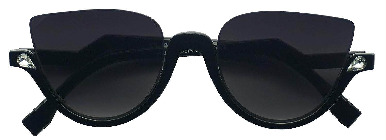 7b3dc57799 Amazon.com  Vintage Half Frame Rhinestone Studded MOD CatEye Clear Sun  Glasses (Black