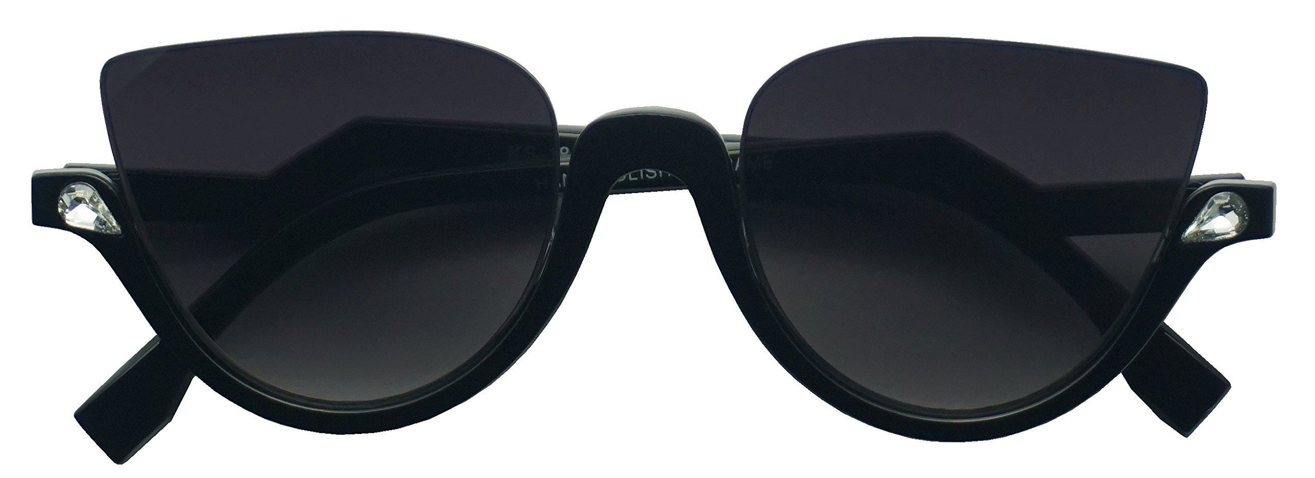 Vintage Half Frame Rhinestone Studded MOD CatEye Clear Sun Glasses (Black, Black)