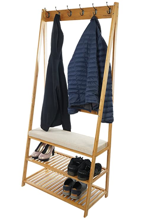Perchero de madera de bambú con ganchos para abrigos y ...