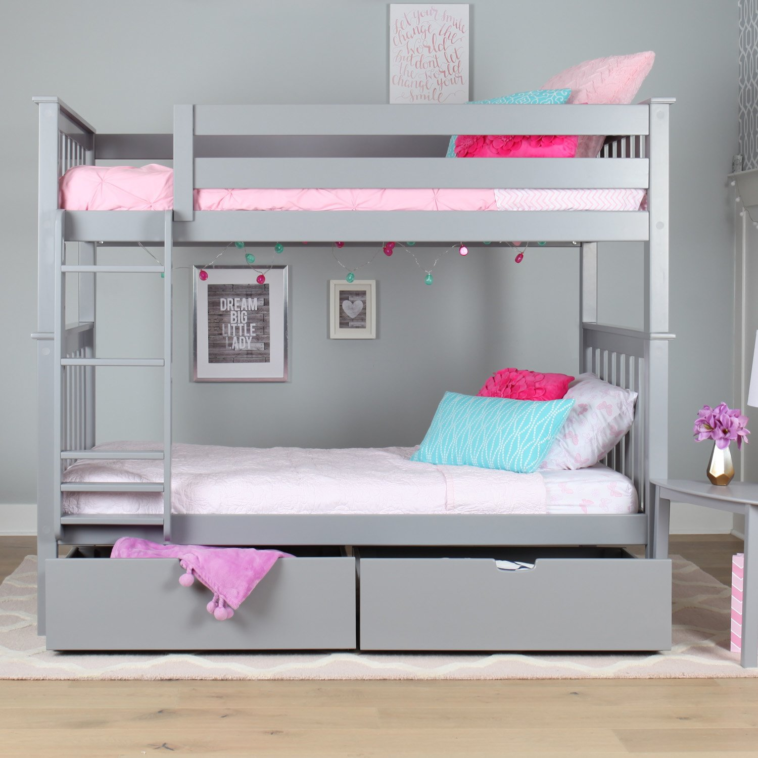 Amazoncom Max & Lily Solid Wood Twin Over Twin Bunk