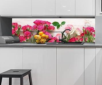 Kuchenruckwand Rosa Und Karminrote Rosen Nischenruckwand