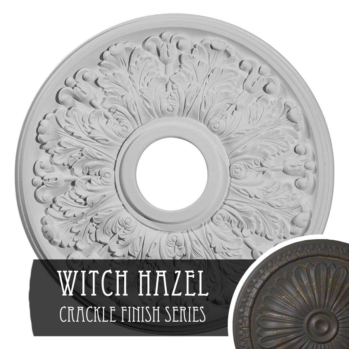 Ekena Millwork CM16APWHC Ceiling Medallion 16 1/2'' OD x 3 ID x 1 1/8'' P Apollo (fits Canopies up to 5 5/8''), Witch Hazel Crackle