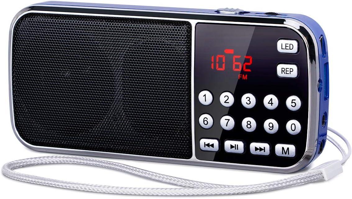 [Actualizado] PRUNUS J-189 Am/FM Radio Portatil Pequeña, Radio Bluetooth con Doble de Altavoces Graves Profundos, Reproductor de TF/USB/AUX / MP3, Linterna LED, con Pilas Recargables (Azul)