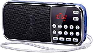 PRUNUS J-189 Small Portable Radio AM FM Bluetooth Radio - Dual Speaker Heavy Bass, LED Flashlight, Pocket Size, TF Card USB AUX MP3 Player, Rechargeable Battery Operated