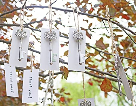 50pcs Wedding Favors Silver Skeleton Key Bottle Opener with white Escort Tag Card Thank You